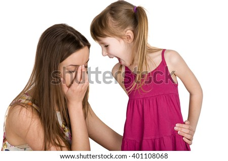 problems between parents and children. scandal and quarrel - stock photo