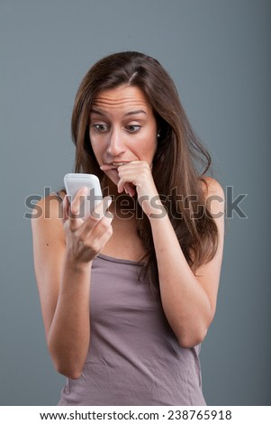 problems coming by phone to a young woman - stock photo