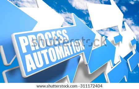 Process Automation - 3d render concept with blue and white arrows flying in a blue sky with clouds - stock photo