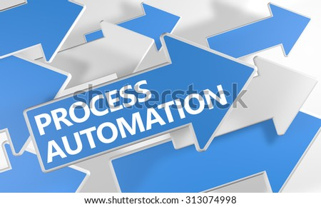 Process Automation - 3d render concept with blue and white arrows flying over a white background. - stock photo