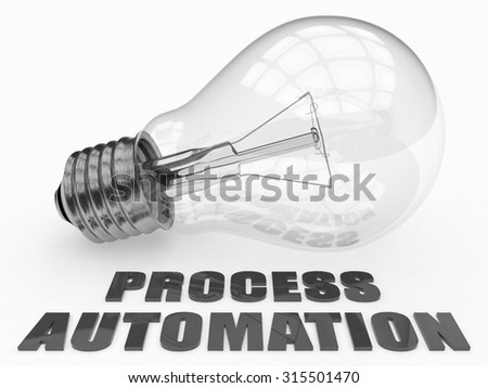 Process Automation - lightbulb on white background with text under it. 3d render illustration. - stock photo