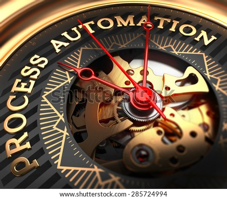 Process Automation on Black-Golden Watch Face with Closeup View of Watch Mechanism. - stock photo