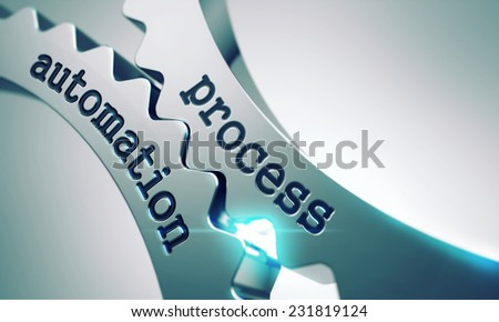 Process Automation on the Mechanism of Metal Gears. - stock photo