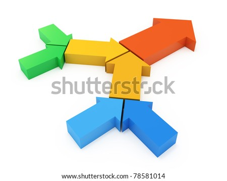 Process chain from colorful arrows. 3d concept illustration - stock photo