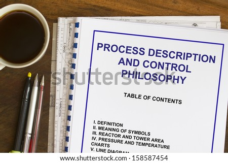 Process description and control philosophy abstract with coffee. - stock photo