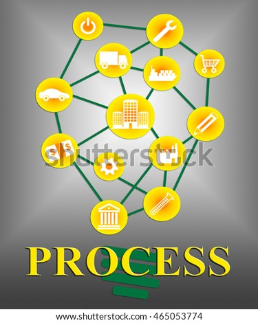 Process Icons Indicating Way Undertaking And Processed