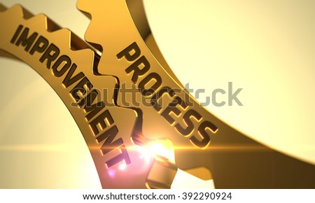 Process Improvement on Mechanism of Golden Cogwheels with Lens Flare. Process Improvement on Mechanism of Golden Metallic Gears. Process Improvement on the Golden Cog Gears. 3D. - stock photo