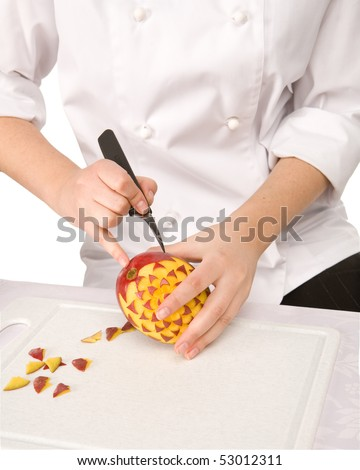 Process of carving a mango - isolated on white background