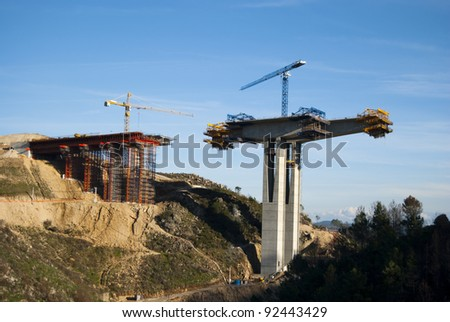 process of construction of the bridge to pass through it motorways