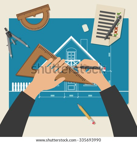 Process of designing the house. Simple illustration of blueprints with professional drawing equipment. Raster version - stock photo