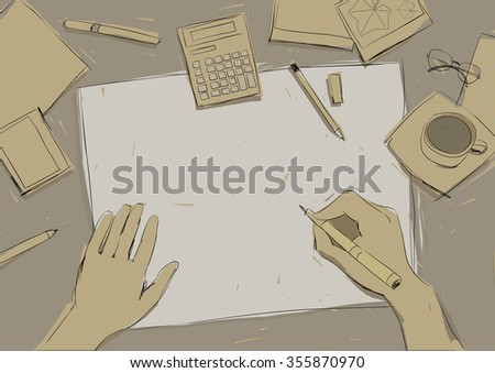 process of drawing on the a sheet of paper, digital illustration - stock photo