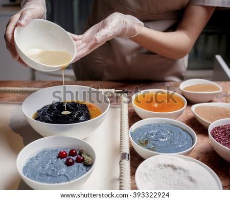 Process of making natural cosmetics - stock photo