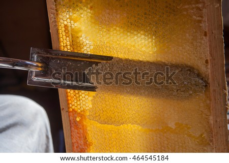 Process of opening of honeycombs with special electric knife opener