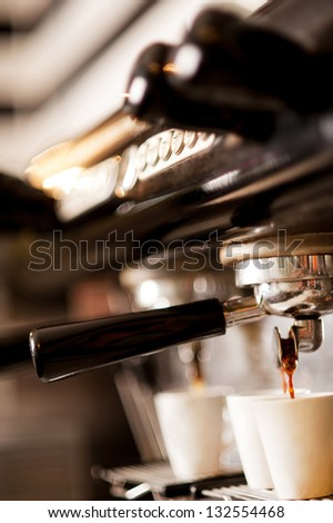 Process of preparation of coffee, a closeup. - stock photo