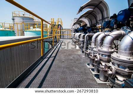 Process Oil pipeline in factory plant. - stock photo