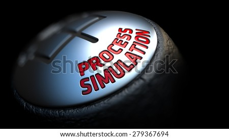 Process Simulation. Shift Knob with Red Text on Black Background. Close Up View. Selective Focus. 3D Render. - stock photo