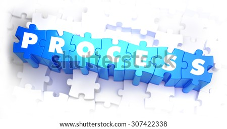 Process - Text on Blue Puzzles on White Background. 3D Render.  - stock photo