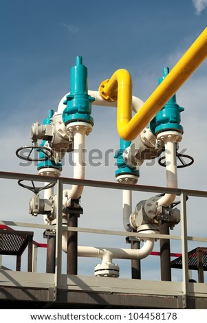 Process unit for gas processing, the overall plan. - stock photo