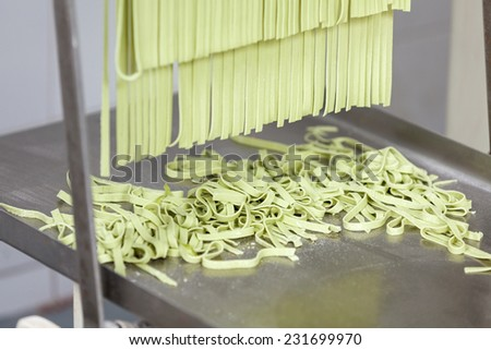 Processed green spaghetti pasta on machine tray at commercial kitchen - stock photo