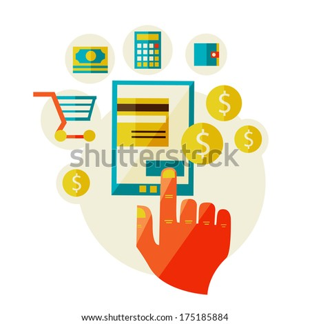 processing of mobile payments - stock photo