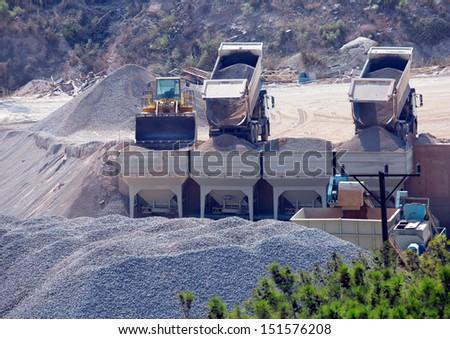 processing plant stones  - stock photo
