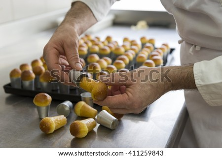 processing step for pastries just out from the oven