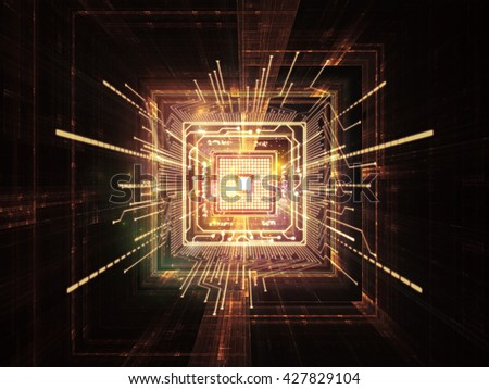 Processing Technology  series. Arrangement of computer chip and fractal elements on the subject of central processing unit, computing and information technology - stock photo