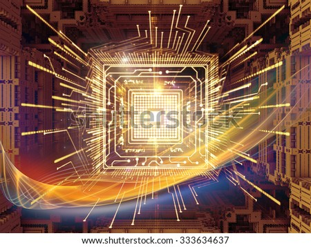 Processing Technology  series. Background design of computer chip and fractal elements on the subject of central processing unit, computing and information technology