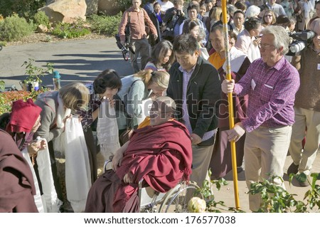 Procession from HH Penor Rinpoche's overnight residence to Shrine Room honoring his presence at Meditation Mount in Ojai, CA