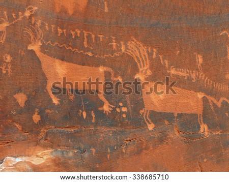 processional panel of lpetroglyphs in comb ridge, near bluff,   utah - stock photo