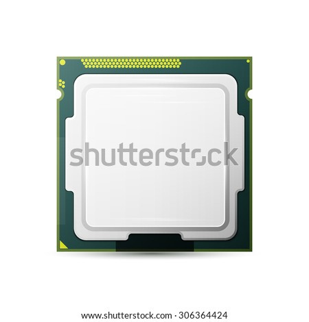 Processor. Computer Hardware. Isolated on white,   - stock photo