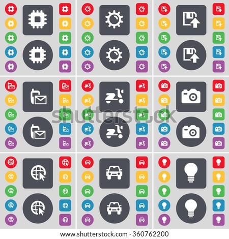 Processor, Gear, Floppy, SMS, Scooter, Camera, Web cursor, Car, Light bulb icon symbol. A large set of flat, colored buttons for your design. illustration - stock photo