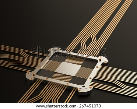 Processor (microchip) interconnected receiving and sending information. Concept of technology and future. - stock photo