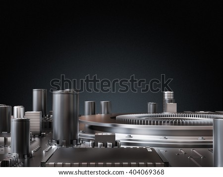 Processor (microchip) interconnected receiving and sending information. Concept of technology and future. High quality 3D rendering. - stock photo