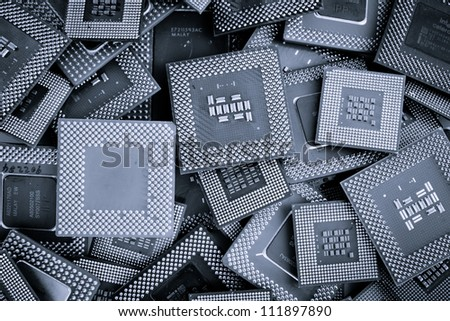 Processor unit cpu background color processed blue - stock photo