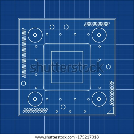 Processor unit CPU. Cad cartoon white drawing on blue background illustration outline. High resolution 3D
