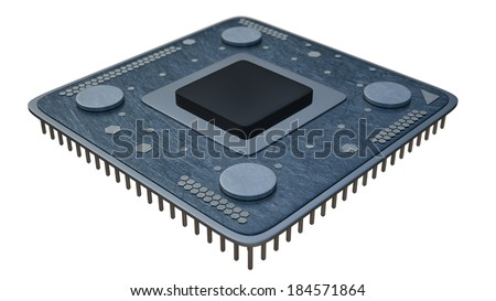 Processor unit CPU concept isolated on white background 3d render  - stock photo