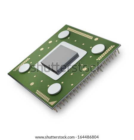 Processor unit CPU isolated on white background High resolution 3d  - stock photo