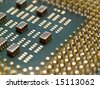 processor with golden pins closeup. shallow dof - stock photo