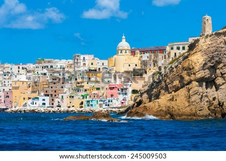 Procida, beautiful and colorful island in the Mediterranean Sea Coast, Naples, Italy