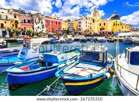 Procida , beautiful colorful small island of Itay - stock photo