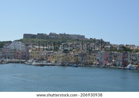 PROCIDA, ITALY, JULY 2, 2014: View over main marina situated on procida island in the bay of naples.