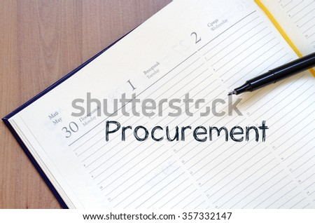 Procurement text concept write on notebook with pen