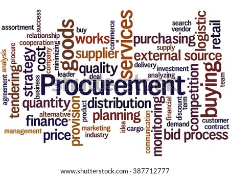 Procurement, word cloud concept on white background.