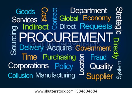 Procurement Word Cloud on Blue Background - stock photo
