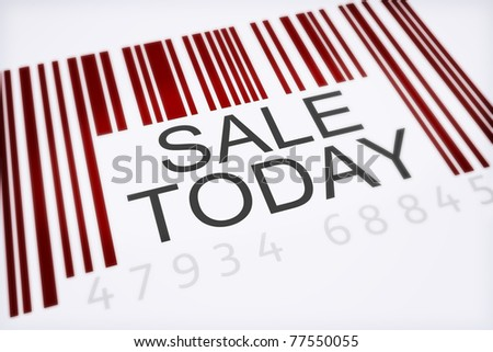 Product bar code concept of a big sale isolated on a white background . 300 D.P.I - stock photo