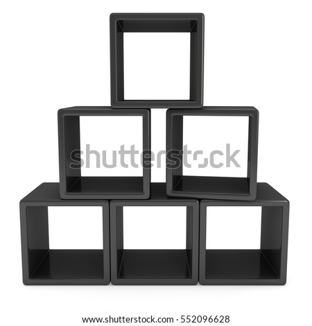 Product display black boxes. 3D render isolated on white. Platform or Stand Illustration. Template for Object Presentation.