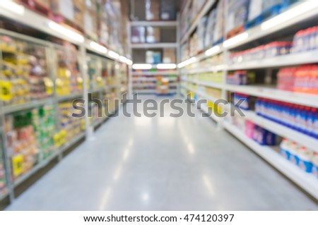 Product Display Shelf with walkway in Supermarket, Moderntrade or Hypermarket, Abstract blur Background
