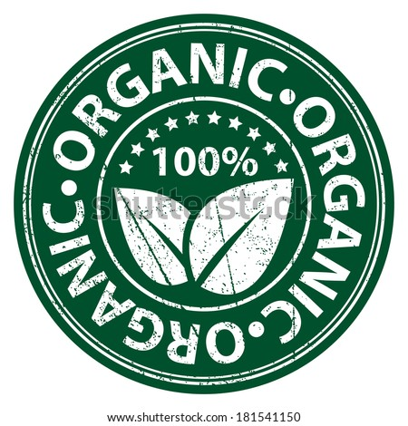 Product Information Material or Ingredient, Circle Green 100 Percent Organic Sticker, Rubber Stamp, Icon, Tag or Label Isolated on White Background - stock photo