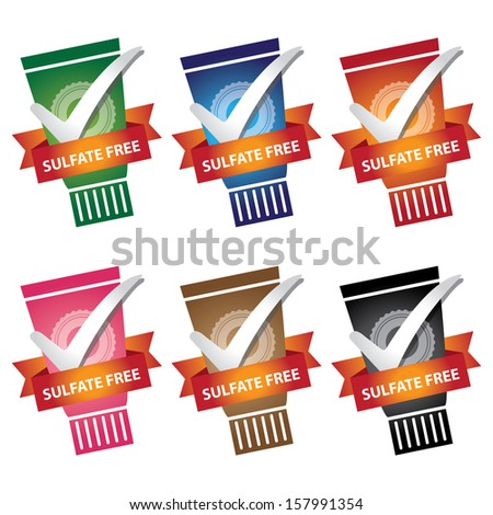 Product Information or Ingredient Concept Present By Colorful Lotion or Shampoo Bottle With Sulfate Free Ribbon Isolated on White Background